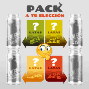 Pack de latas de cerveza artesanal combinables de cuatro estilos, ipa session, pale ale, golden, irish red